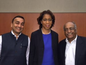 Pictured left to right, Umang Mathur, MS, Terri Young, MD, MBA, Chair of the Department of Ophthalmology and Visual Sciences and Suresh Chandra, MD, Professor Emeritus.