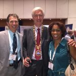 Dr. Mark Lucarelli (left) and Dr. Terri Young (right) with Dr. Geoffrey Rose, president of the European Society of Ophthalmic Plastic and Reconstructive Surgery