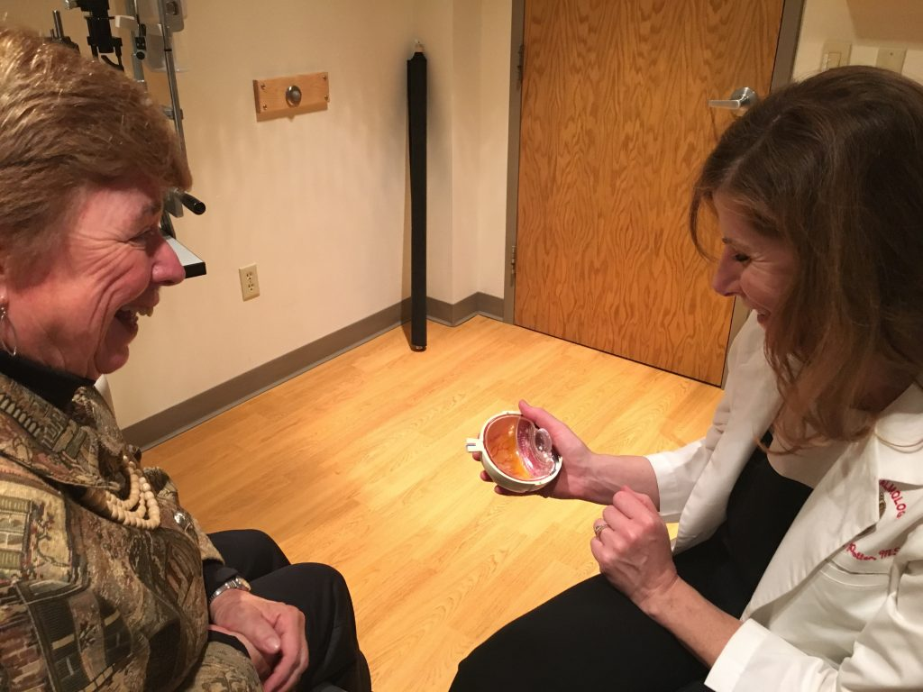 Ms. Jeffords and Dr. Potter discuss the cataracts and her new range of vision post-surgery.