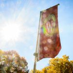 Sunlight shines through an iconic W crest banner on Bascom Hill at the University of Wisconsin-Madison on Oct. 22, 2014. (Photo by Bryce Richter / UW-Madison)