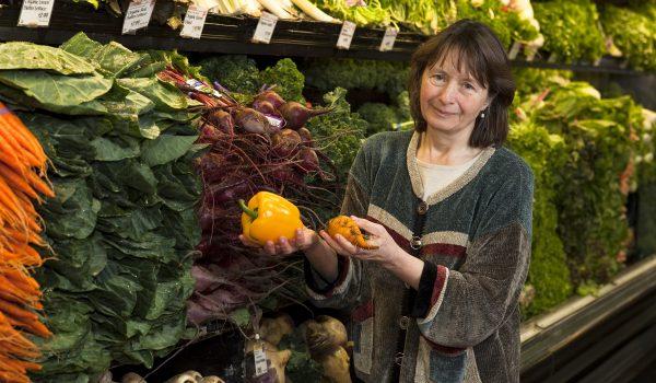 Dr. Julie Mares with fresh produce