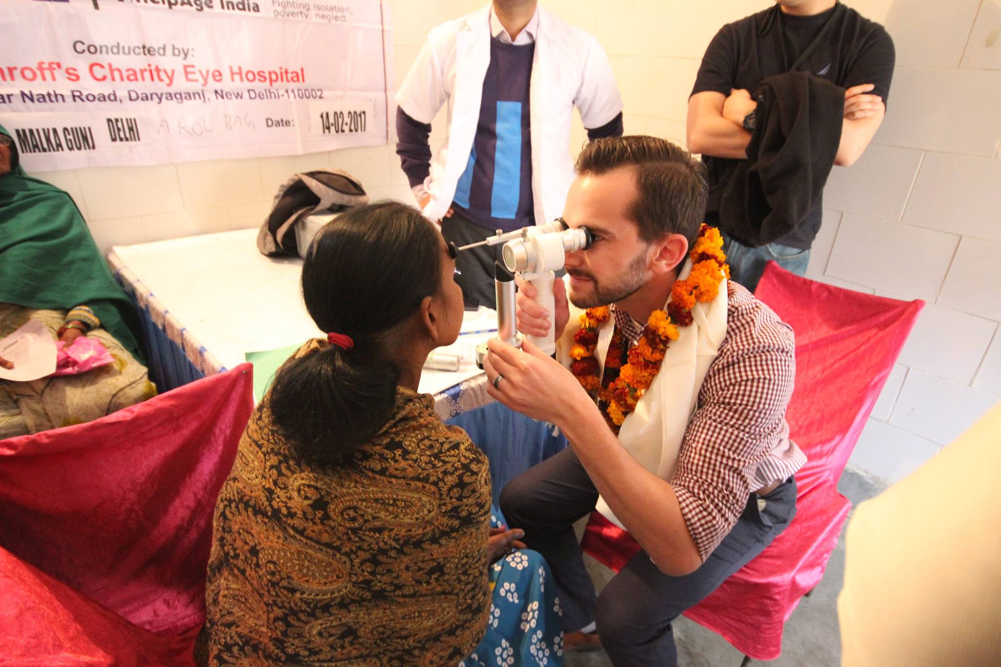 Resident examines patients at Shroff's Charity Eye Hospital //