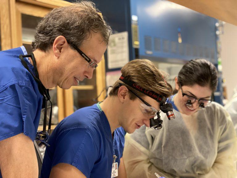 Drs. Lucarelli, Burckhard and Gurwin at the Oculoplastics Skills Course 2020